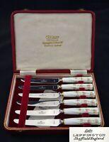 "BOXED LEPPINGTON CUTLASS BONE CHINA HANDLE TEA BREAKFAST KNIVES 7"" SHEFFIELD"