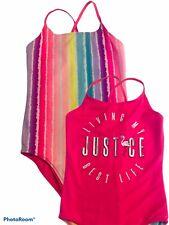 Justice Girls Size 14 one piece Swim Suit REVERSIBLE Pink flamingo stripes ECU