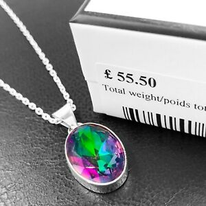 Super 925 Sterling Silver Mystic Fire Topaz Gemstone Necklace Pendant Gift Boxed