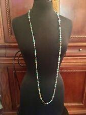 "VTG Art Deco Faceted & Art Glass CLEAR PASTEL  Beads Flapper Necklace 55"""