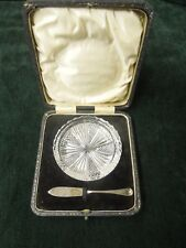 R & D silver butter knife and crystal dish (Robert & Dore)