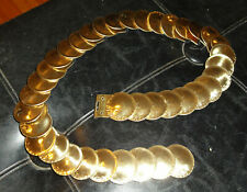 Vintage Gold Tone Coin Stretch Belt M to L 1980's metal rocker goth Renaissance