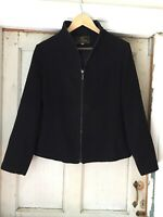 Vintage Womens Fendi Jacket 100% Black Cashmere Sz 8 Made In Italy Silk Lined