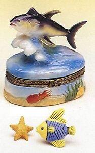 TUNA FISH-Porcelain Hinged-Box-RIDING THE WAVES