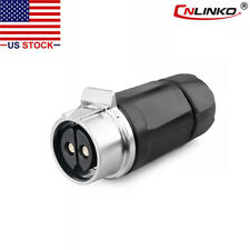 CNLINKO 2 Pin 50A Power Connector Female Docking Plug Waterproof IP67 High Amp