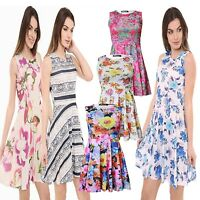 Ladies New Women Floral Printed Sleeveless  Skater Swing Dress UK Plus Size 8-26