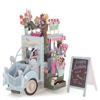 3D Pop Up Flower Car Greeting Card Happy Birthday Valentine Day Creative Gift