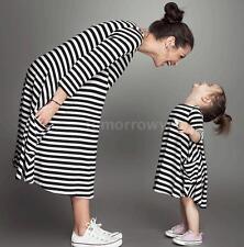 Cotton 3/4 Sleeve Striped Regular Size Dresses for Women