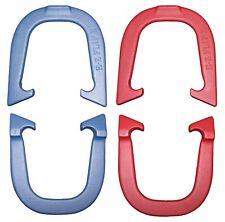 E-Z Flip II Horseshoes- Two Pair Set (4 shoes) Red/Blue, Made in USA