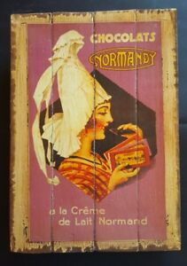 CHOCOLATS Normand;Industrial Wooden Vintage Rustic Retro Cafe Wall Art Print NEW