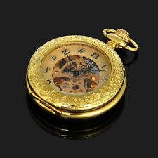 Casual Gold Plated Skeleton Mechanical Mens Automatic Pocket Watch