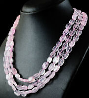 465.00 Cts Natural Pink Rose Quartz 3 Strand Oval Shape Unheated Beads Necklace