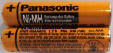 PANASONIC GENUINE HHR-65AAABU NI-MH 1.2V 630MAH (2 PC) AAA PHONE BATTERY - NICE!