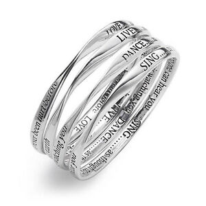 Silver Engraved Message Bangle. Choice of  - Live, Love, Sing or Dance