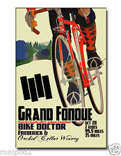 Vintage Poster/Print/ Cycling Poster/Bicycle/Cycling the Wine Country 17x22 inch