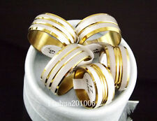 Wholesale - 12 pcs 10mm Drawbench Gold and Silver Tone Stainless Steel Ring