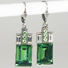 Ohrringe Ohrhänger Silber Altsilber Swarovski Kristall Rechteck - Erinite - grün