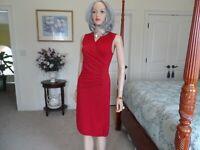 Ralph Lauren Red Ruched Surplice Sheath Dress Size XS