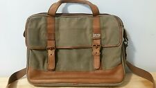 Vintage LL Bean Heavy Canvas Leather Briefcase Laptop Messenger Shoulder Bag