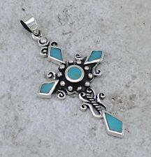 CUTE 925 STERLING SILVER TURQUOISE CROSS PENDANT  style# p0901