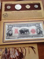 2004 LEWIS+CLARK Coinage + Currency Set. US Mint (3) 37 cent STAMPS, $'s, MEDAL+