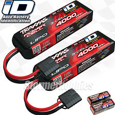 (2) Traxxas 2849X 3S 11.1V 4000mAh 25C LiPo iD Battery combo For RUSTLER VXL