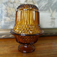 Vintage Diamond Point Indiana Amber Glass Fairy Candle Holder Lamp Tea Light