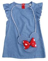 StylesILove Girl Shabby Blue Denim Dress & Crossbody Mini Bag 2pcs Outfit, 2-5T