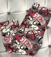 One Size Heart Print CAPRI Leggings Love White Pink Red Buttery Soft OS 2-10