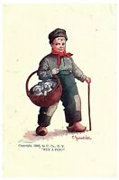"1908 Charles Bernhardt Wall Artist Signed Postcard ""BUY A PUP?"" Dutch Boy & Dogs"