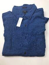 NWT J CREW Mens Blue Micro Houndstooth Flannel Shirt sz L