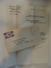 Noumea New Caledonia France Stamp + 1947 Letter from Govenor's Chief of Staff