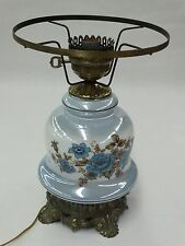 Vintage Blue Floral Glass Table Lamp With Cast Metal And Internal Night Light