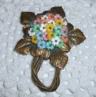Vintage Brass Leaf Molded Flower Beads Brooch Pin Miriam Haskell? Style  A221