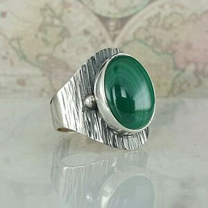 925 Sterling Silver Woman Ring Natural Malachite Gemstone Handmade Sz 6-10