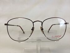 Vintage Carbeau 7028 Eyeglasses Antique Burgundy Metal Large Round 54-18