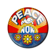 Badge PEACE NOW paix colombe hippie 60s 70s pop retro woodstock tibet pins Ø25mm
