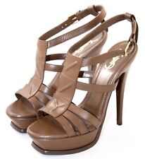 YSL Yves Saint Laurent Sz 38 Platform High Heel Shoes Brown New Riveg T-Strap