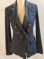 White House Black Market Blue Jean Jacket Sz 4 Double Breasted Pockets Collar