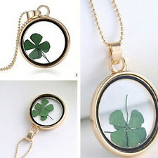 Real Dried Clover Flower Clear Resin Locket Pendant Necklace Four-Leaf YJ