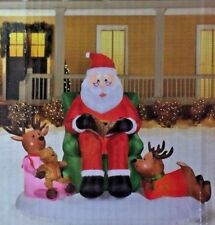 RARE NEW 6.5 FT LONG LIGHTED SANTA REINDEER STORY TIME SCENE INFLATABLE BY GEMMY