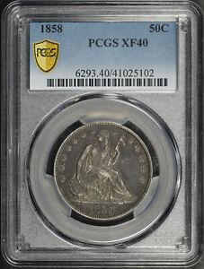 1858 Seated Liberty Half Dollar PCGS XF-40