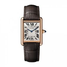 New Cartier Tank Louis 18K Rose Gold Leather Large Model Manual Watch WGTA0011