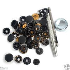 NEW 15 Sets 17mm Black Matte Metal Press Studs Kit Snap Fasteners w/Punch Tools
