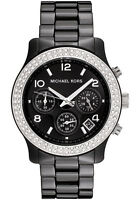 NEW MICHAEL KORS MK5190 BLACK CERAMIC RUNWAY WATCH - 2 YEARS WARRANTY