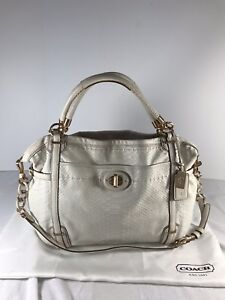 COACH Snake Textured White/Ivory/Cream Leather Satchel Shoulder Bag A1173-17027