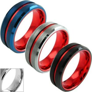 Engraved 8mm Tungsten Men's Thin Red Line Brushed Wedding Band Blue Silver Black