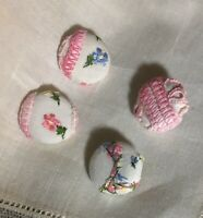 Vintage Four Embroidered Crocheted Fabric covered metal button Pink Blue White