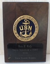 Vintage Custom Made USN Navy Military Metal Large Wall Plaque Sign