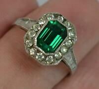 Art Deco 9ct Gold and Silver Green Coloured Paste Set Cluster Ring t0354